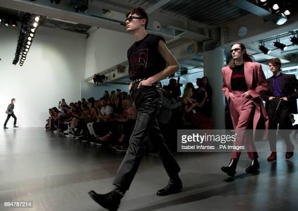 Models walk on the John Lawrence Sullivan catwalk during the London Fashion Week MenÕs SS18 show held at BFC Show Space, London. PRESS ASSOCIATION...