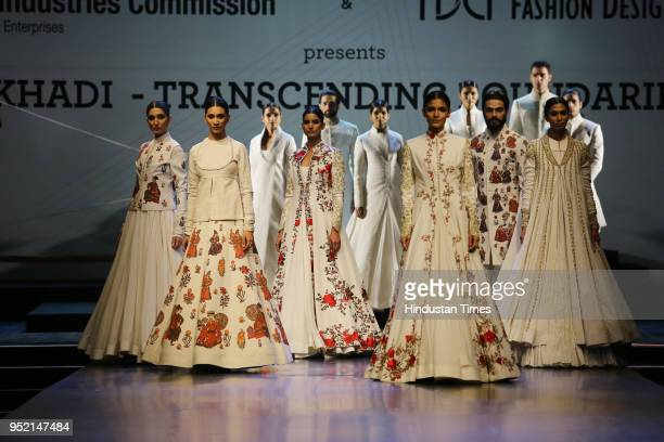 Models walk on the ramp during the event Khadi Transcending Boundaries It included a fashion show by designers Anju Modi Poonam Bhagat Payal Jain...