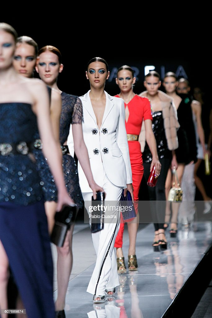 6302c3eafa Models walk on the runway at the Felipe Varela show during Mercedes-Benz  Fashion Week