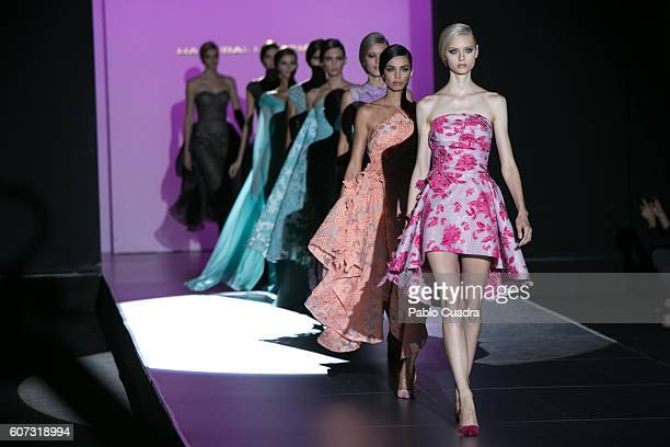 Models walk on the runway at the Hannibal Laguna show during the MercedesBenz Fashion Week Madrid Spring/Summer 2017 at Ifema on September 17 2016 in...