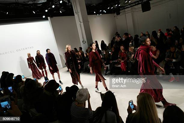 Models walk on the runway at the Marcel Ostertag Front Row at The Gallery Skylight at Clarkson Sq on February 11 2016 in New York City