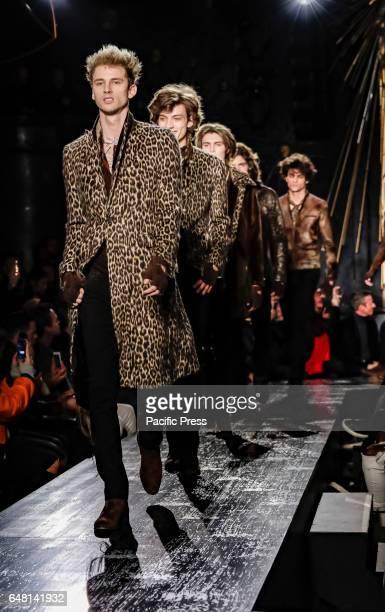 Models walk runway for John Varvatos FW17 runway show during NY Fashion Week Men's at Paramaunt Hotel Manhattan