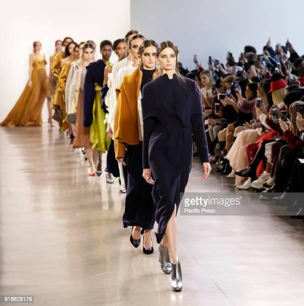 Models walk runway for Leanne Marshall Fall/Winter 2018 runway show during New York Fashion Week at Spring Studios Manhattan