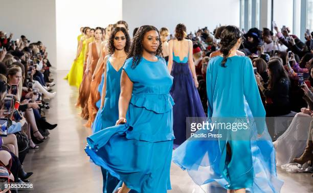 Models walk runway for Leanne Marshall Fall/Winter 2018 runway show during New York Fashion Week at Spring Studios Manhattan