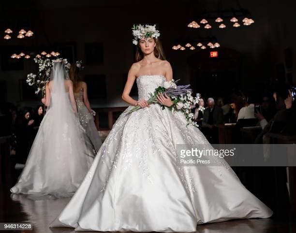 Models walk runway for Reem Acra Bridal Spring/Summer 2019 collection during NY Bridal Wweek at NY Public Library Manhattan