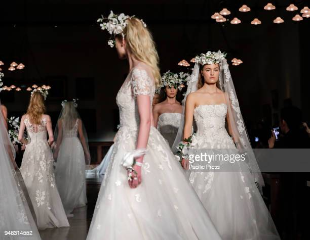 Models walk runway for Reem Acra Bridal Spring/Summer 2019 collection during NY Bridal Wweek at NY Public Library Manhattan