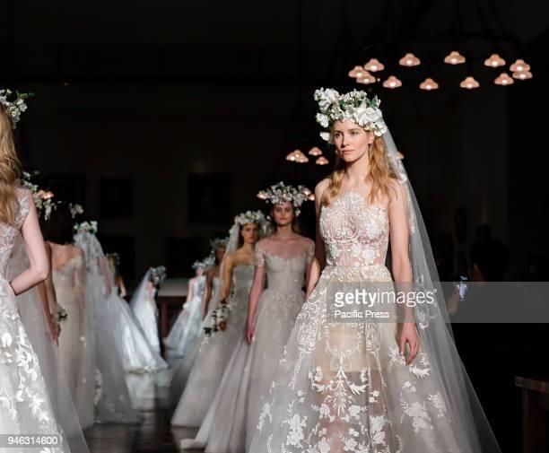 Models walk runway for Reem Acra Bridal Spring/Summer 2019 collection during NY Bridal Wweek at NY Public Library, Manhattan.
