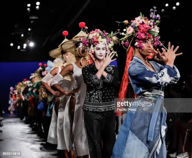 Models walk runway for the Desigual Spring/Summer 2017 runway show during New York Fashion Week at Skylight Clarkson Sq Manhattan