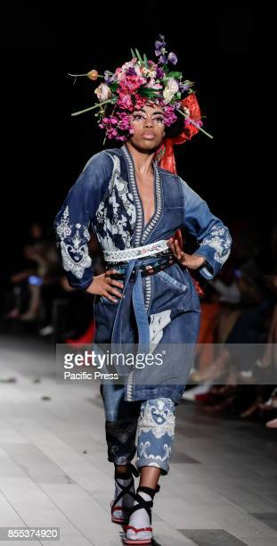 Models walk runway for the Desigual Spring/Summer 2017 runway show during New York Fashion Week at Skylight Clarkson Sq Manhattan