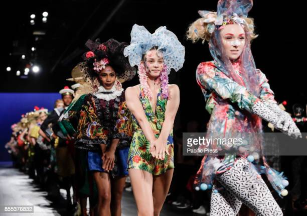 Models walk runway for the Desigual Spring/Summer 2017 runway show during New York Fashion Week at Skylight Clarkson Sq., Manhattan.