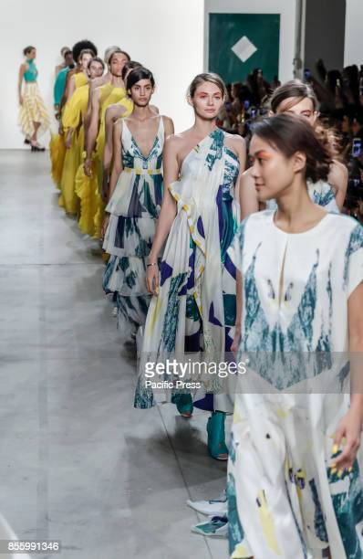 Models walk runway for the Leanne Marshall Spring/Summer 2018 runway show during New York Fashion Week at Skylight Clarkson Sq Manhattan