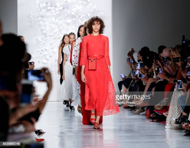 Models walk runway for the Noon by Noor Spring/Summer 2018 runway show during New York Fashion Week at Skylight Clarcson Sq Manhattan