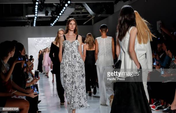 Models walk runway for the Noon by Noor Spring/Summer 2018 runway show during New York Fashion Week at Skylight Clarcson Sq., Manhattan.