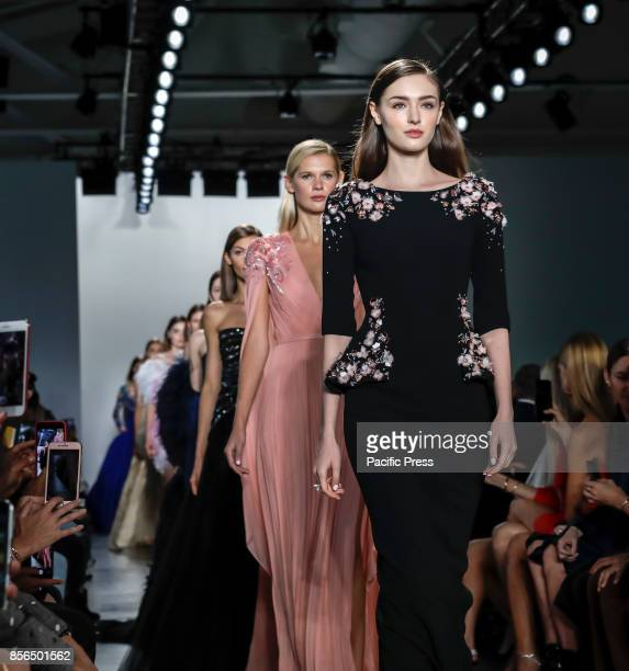 Models walk runway for the Pamella Roland Spring/Summer 2017 runway show during New York Fashion Week at Pier 59 Studios at Chelsea Piers Manhattan