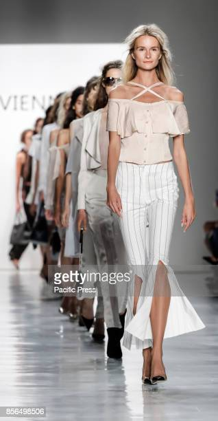 Models walk runway for the Vivienne Hu Spring/Summer 2018 runway show during New York Fashion Week at Skylight Clarkson Sq Manhattan