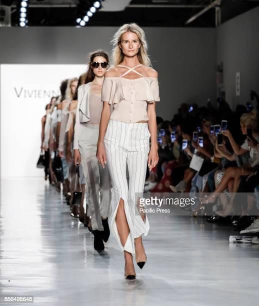 Models walk runway for the Vivienne Hu Spring/Summer 2018 runway show during New York Fashion Week at Skylight Clarkson Sq Manhattan