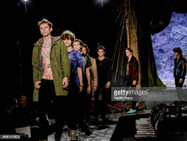 Models walk runway rehearsal for John Varvatos FW17 runway show during NY Fashion Week Men's at Paramaunt Hotel Manhattan