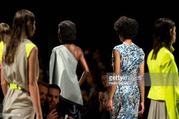 Models walk the catwalk at the Aleksandar Protic show during Lisboa Fashion Week 'ModaLisboa' 2018 on October 13 2018 in Lisbon Portugal