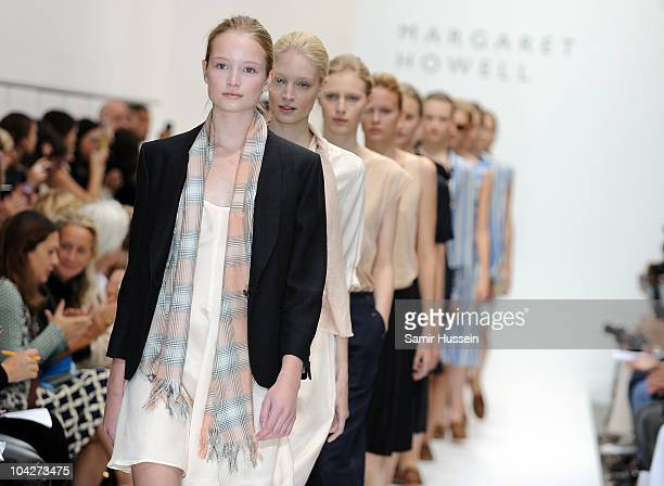 Models walk the catwalk at the Margaret Howell s/s 2011 fashion show during London Fashion Week on September 19, 2010 in London, England.