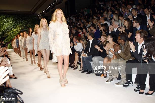 Models walk the catwalk at the Stella McCartney fashion show during the Spring/Summer 2008 readytowear collection show at Palais de Chaillot on...