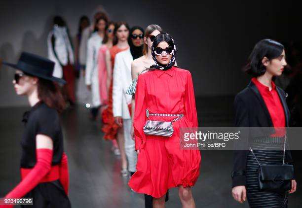 Models walk the catwalk at the Trend show during the London Fashion Week Festival February 2018 on February 23 2018 in London United Kingdom