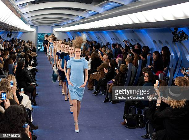Models walk the catwalk during the Chanel Haute Couture Spring/Summer 2012 show as part of the Paris Fashion Week Spring/Summer 2012 at le Grand...