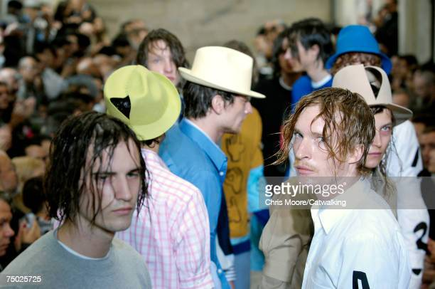 Models walk the catwalk during the Comme Des Garcons Homme Plus fashion show as part of Spring Summer 2008 Paris Menswear fashion week on June 29...