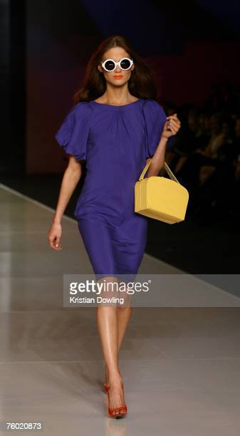 Models walk the catwalk during the Karen Walker collection show as part of the Myer Spring/Summer Collection Launch at the Carriageworks on August 8...