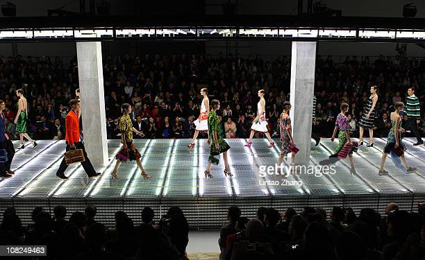Models walk the catwalk during the Prada Spring/Summer 2011 Fashion Show on January 22 2011 in Beijing China
