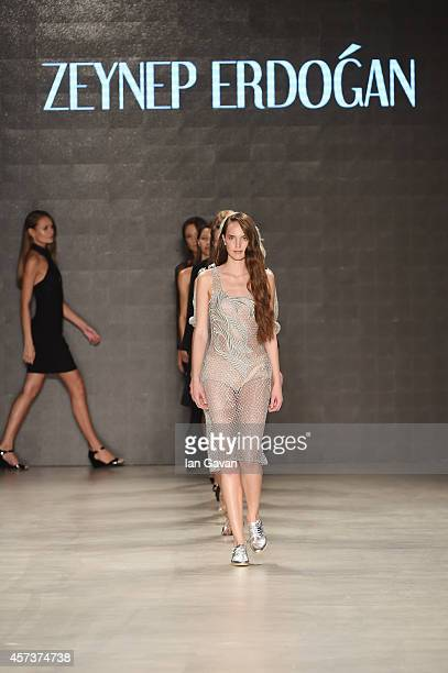 Models walk the finale of the Zeynep Erdogan show during Mercedes Benz Fashion Week Istanbul SS15 at Antrepo 3 on October 17 2014 in Istanbul Turkey