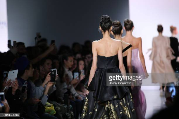 Models walk the in Irina Vitjaz runway show during New York Fashion Week The Shows at Gallery I at Spring Studios on February 14 2018 in New York City
