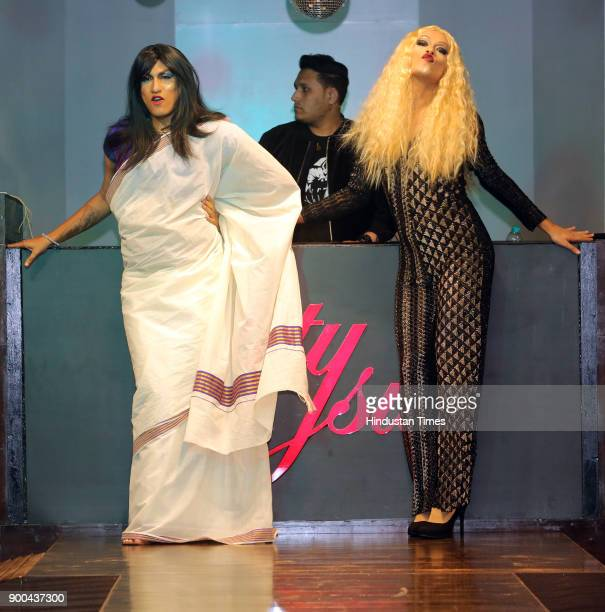 Models walk the ramp at Indias first everfashion show featuring transgender models at kitty Su one of the most famous night clubs in Delhi on...