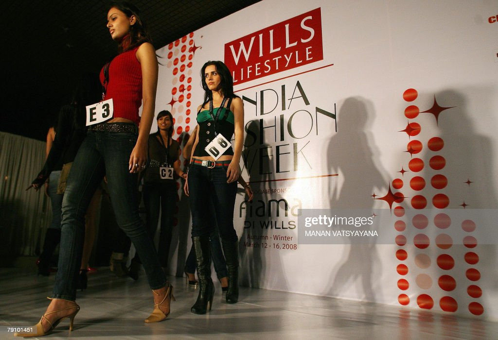 Models walk the ramp during the auditions for the autumn