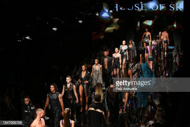 Models walk the runaway at the House Of Skye Fashion Show at The Majestic Downtown on October 14, 2021 in Los Angeles, California.