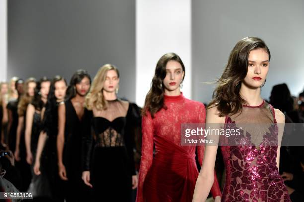 Models walk the runway ad Tadashi Shoji Show during New York Fashion Week The Shows at Gallery I at Spring Studios on February 8 2018 in New York City