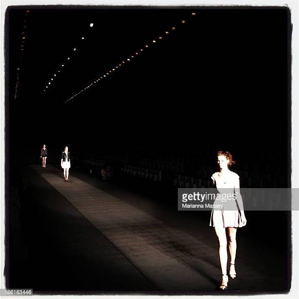 Models walk the runway ahead of the Jayson Brunsdon show during MercedesBenz Fashion Week Australia Spring/Summer 2013/14 at Carriageworks on April 9...