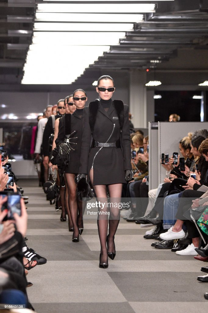 Models walk the runway at Alexander Wang Fashion Show during New York Fashion Week at 4 Times Square on February 10, 2018 in New York City.