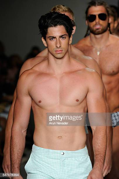 Models walk the runway at Argyle Grant Runway Show during Art Hearts Fashion Miami Swim Week Presented by AIDS Healthcare Foundation at Collins Park...