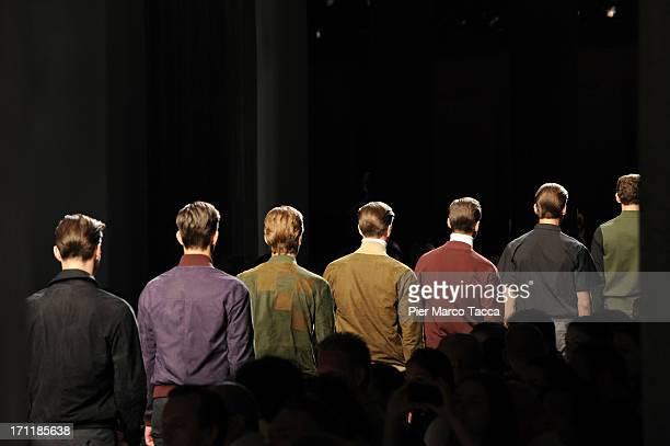 Models walk the runway at Bottega Veneta show during Milan Menswear Fashion Week Spring Summer 2014 on June 23, 2013 in Milan, Italy.