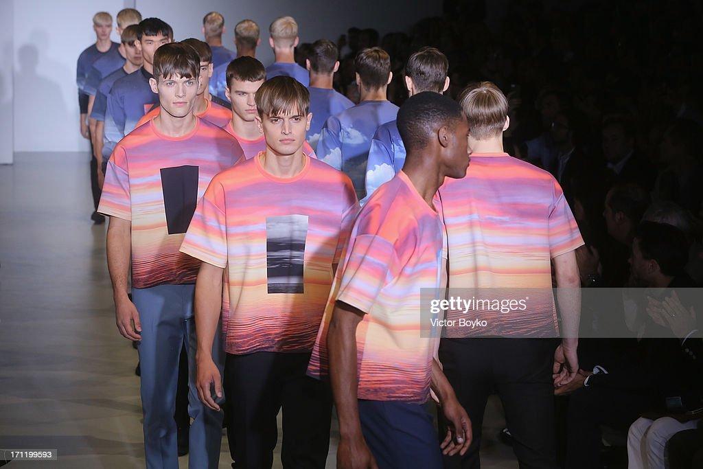 Models walk the runway at Calvin Klein Collection show during Milan Menswear Fashion Week Spring Summer 2014 on June 23, 2013 in Milan, Italy.