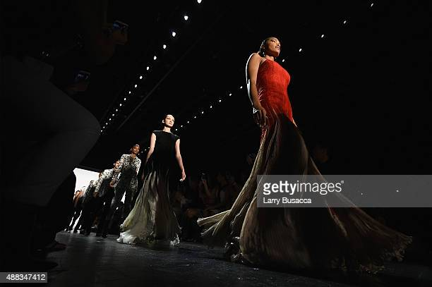 Models walk the runway at Carmen Marc Valvo seen around Skylight at Moynihan Station during Spring 2016 New York Fashion Week The Shows on September...