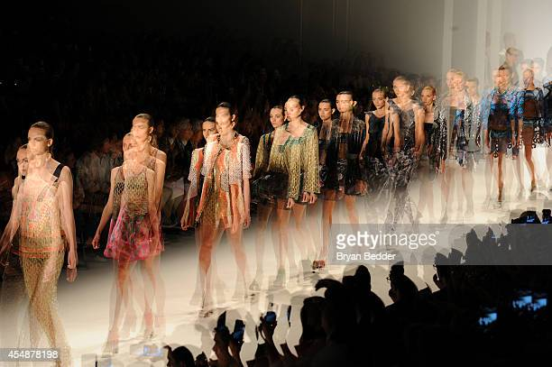 Models walk the runway at Custo Barcelona show during Mercedes-Benz Fashion Week Spring 2015 on September 7, 2014 in New York City.