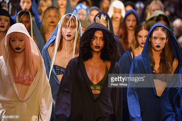 Models walk the runway at DKNY Women's Fashion Show during New York Fashion Week at High Line on September 12 2016 in New York City