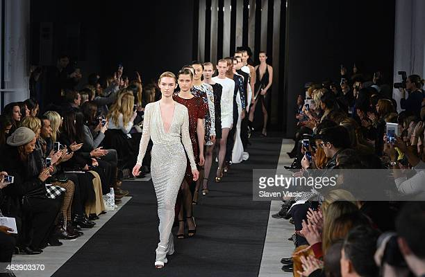 Models walk the runway at J Mendel fashion show during MercedesBenz Fashion Week Fall 2015 on February 19 2015 in New York City