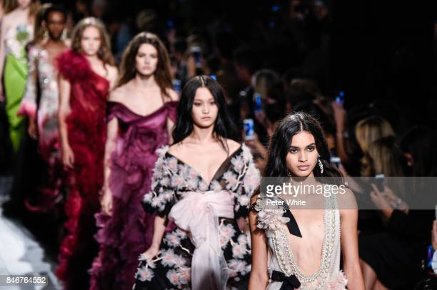 Models walk the runway at Marchesa Spring 2018 during New York Fashion Week at Gallery 1 Skylight Clarkson Sq on September 13 2017 in New York City
