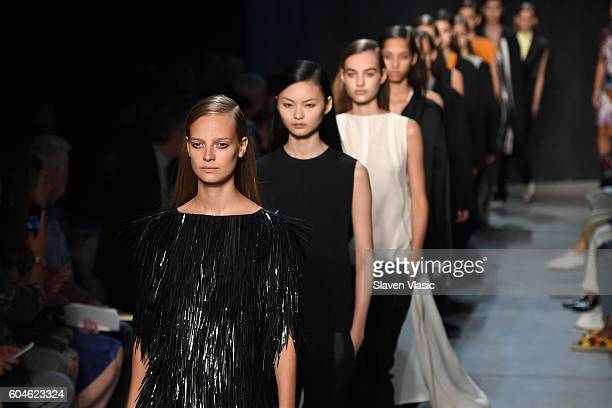 Models walk the runway at Narciso Rodriguez fashion show during September 2016 New York Fashion Week at SIR Stage 37 on September 13 2016 in New York...
