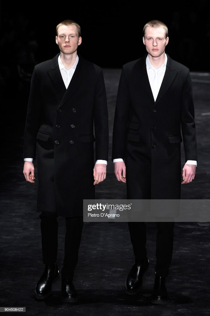 Models walk the runway at Neil Barrett show during Milan Men's Fashion Week Fall/Winter 2018/19 on January 13, 2018 in Milan, Italy.
