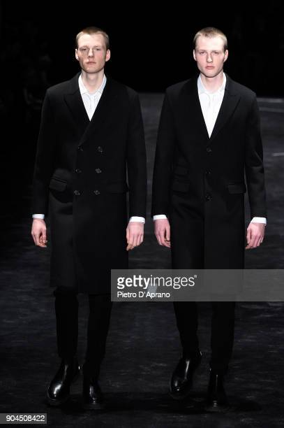 Models walk the runway at Neil Barrett show during Milan Men's Fashion Week Fall/Winter 2018/19 on January 13 2018 in Milan Italy