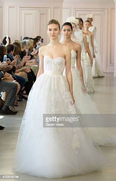 Models walk the runway at Oscar De La Renta Bridal Spring/Summer 2016 Runway Show at Oscar de la Renta Boutique on April 18 2015 in New York City