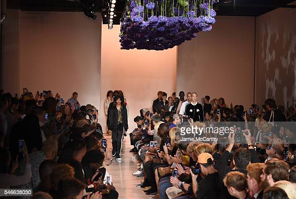 Models walk the runway at Ovadia Sons fashion show during New York Fashion Week Men's S/S 2017 show at Skylight Clarkson Sq on July 12 2016 in New...